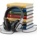 Audiobook concept. Headphones and books on white isolated backgr
